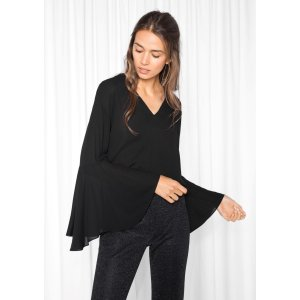 Flared Sleeve Blouse - Black - & Other Stories