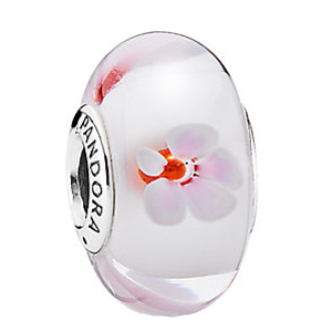 PANDORA Silver Murano Glass Cherry Blossom Charm