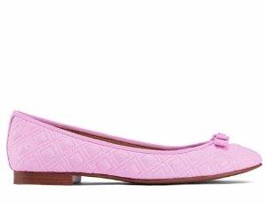 $129(原价$275)+包邮!目前码全!Tory Burch 精选粉色菱格蝴蝶结芭蕾舞鞋热卖