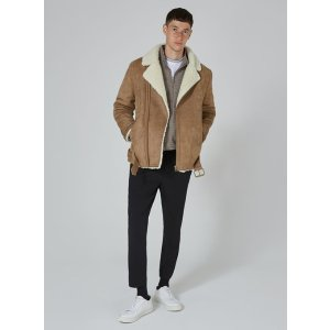 Tan Faux Shearling Borg Jacket - Coats & Jackets - Clothing