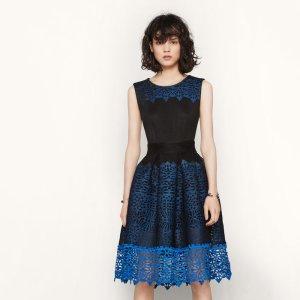 RUSSE Honeycomb knit and guipure dress - Dresses - Maje.com