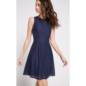 Honeycomb Lace Flare Dress