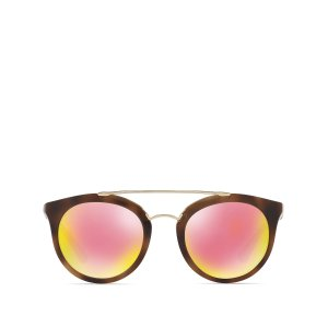 Phantos Round Mirrored Sunglasses, 52mm