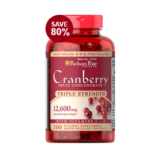 Triple Strength Cranberry Fruit Concentrate 12,600 mg 200 Softgels | Semi-Annual Sale Supplements | Puritan's Pride