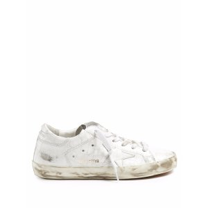 Super Star low-top crackled-leather trainers