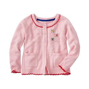 Girls Embroidered Cardi In Cotton & Wool | Girls Sale Sweaters & Jackets