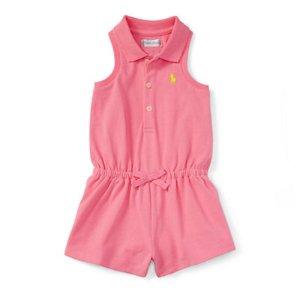 Cotton Sleeveless Polo Romper - Dresses & Rompers � BABY GIRL (0-24 months) - RalphLauren.com