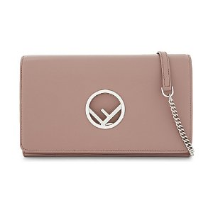 Logo leather clutch