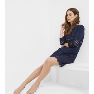 Scallop edged knitted tunic dress - Navy | Dresses | Ted Baker