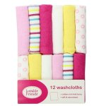 Luvable Friends 12 Pack Washcloths, Pink