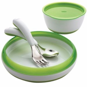$12OXO tot Feeding Set, 4 pc. (Fork, Spoon, Plate, Large Bowl) Green