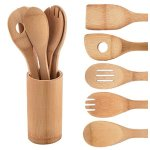 Comllen Premium Organic Kitchen Utensil Bamboo Wooden Set, 5 Piece Set Bamboo Spoons and Spatulas Cooking Utensils with Storage Organizer
