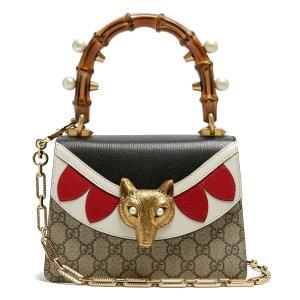 Gucci Broche GG Supreme bamboo-handle cross-body bag