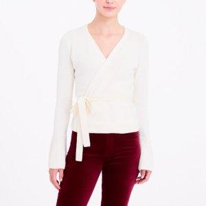 Bell-sleeve wrap sweater