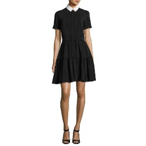 Kenzo Collared Silk Crepe de Chine Mini Dress, Black