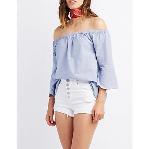 Pinstripe Off-The-Shoulder Bell Sleeve Top | Charlotte Russe