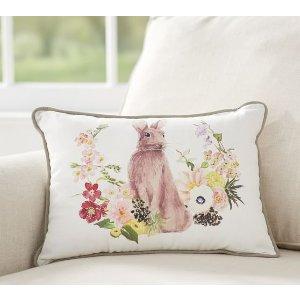 Floral Bunny Print Lumbar Pillow | Pottery Barn