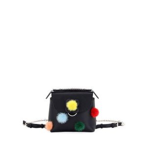 Fendi Back to School Mini Mink Pompom Backpack/Crossbody Bag