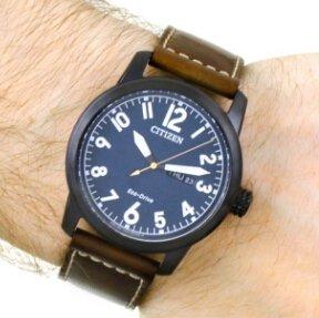 $99.99 ( Orig $225 )CITIZEN Chandler Dark Blue Dial Men's Brown Leather Watch Item No. BM8478-01L