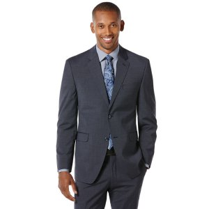 Modern Fit Small Check Suit Jacket - Perry Ellis