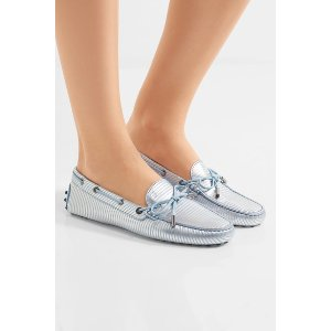 Tod's   Metallic-striped leather loafers