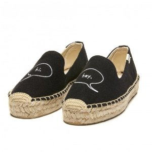 Soludos ASHKAHN x Hi Embroidered Platform Smoking Slipper in Black
