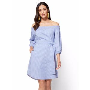 Smocked Off-The-Shoulder Poplin Dress - Blue & White Stripes