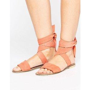 ASOS FAMOUS Suede Tie Leg Sandals
