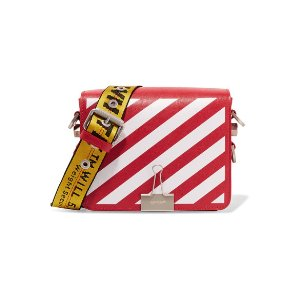 Off-White | Striped textured-leather shoulder bag