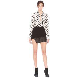 Dora Asymmetrical Leather Combo Mini Skirt | Alice + Olivia