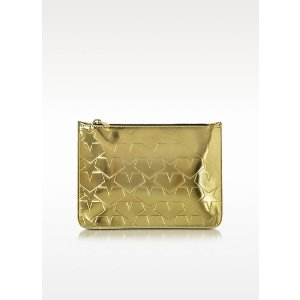 Mary Katrantzou Laminated Gold Leather Pouch w/Stars at FORZIERI
