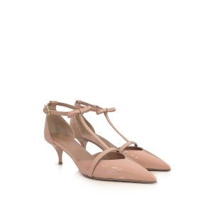 RED Valentino Nude Patent Leather Mid Heel Pump 35 (5 US   2 UK   35 EU) at FORZIERI