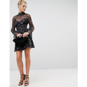 ASOS Printed Mesh Swing Dress With Shirred Neck