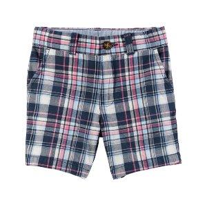 Plaid Flat-Front Twill Shorts