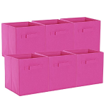 ON'H Foldable Cloth Storage Cube Baskets Bins Organizer Containers Drawers for Closet Kids Toy Storage (6, Fuchsia)