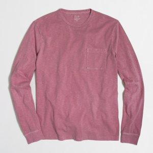 Long-sleeve sunwashed garment-dyed T-shirt : Garment-Dyed | J.Crew Factory