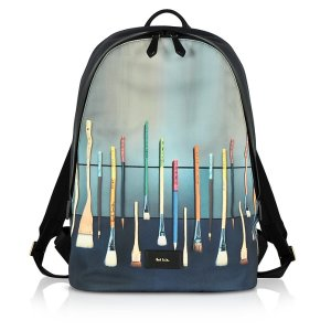 Paul Smith Blue Canvas Brush Print Backpack