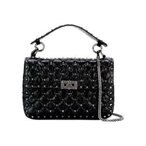 Rockstud Spike Leather Shoulder Bag With Chain
