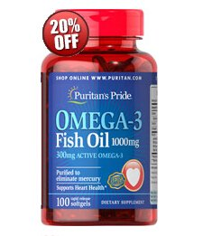 6 for $19.98 + $11 off $45Omega-3 Fish Oil 1000 mg