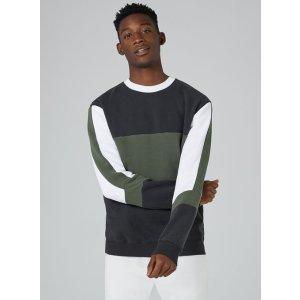 Khaki Panelled Sweatshirt - Hoodies & Sweatshirts - Clothing - TOPMAN USA