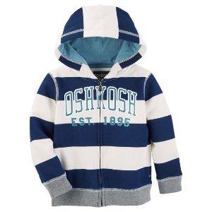 Striped Fleece Logo Hoodie