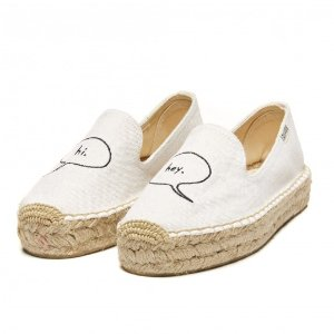Soludos ASHKAHN x Hi Embroidered Platform Smoking Slipper in Whites