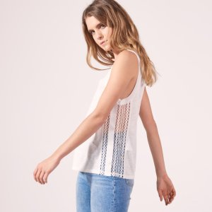 Linen T-Shirt With Lace On The Sides - Tops & Shirts - Sandro-paris.com