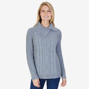 Split Mock Neck Cable Sweater