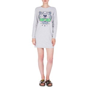 Kenzo Embroidered Logo Crewneck Sweat Dress, Light Gray