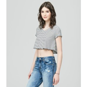 Striped V-Neck Crop Top
