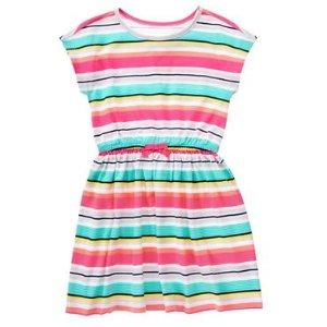 Girls Poppy Pink Stripe Multi-Striped Dress by Gymboree