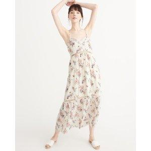 印花吊带长裙