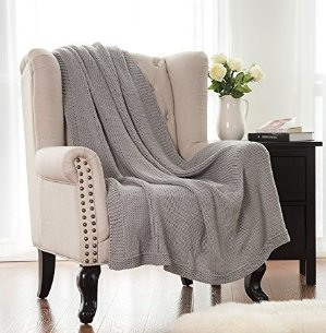 Bedsure Knitted Throw Blanket 100% Acrylic Soft Couch Cover Cozy Sofa Knit blanket - Light Grey, 50