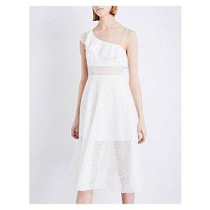 SANDRO - Ruffled cotton-blend midi dress   Selfridges.com